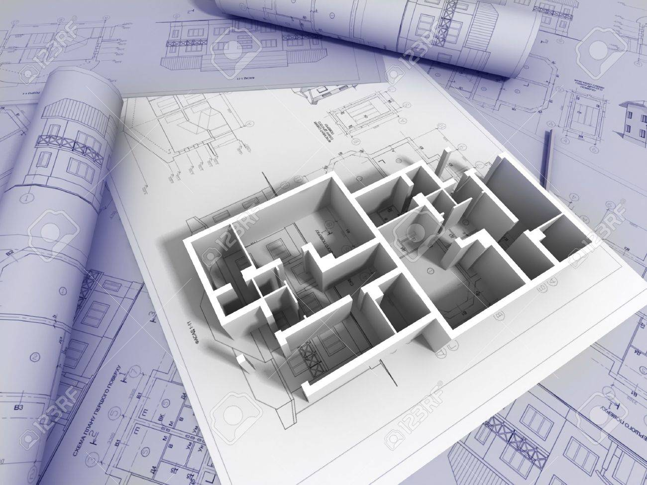 Construction plans 3d plan drawing