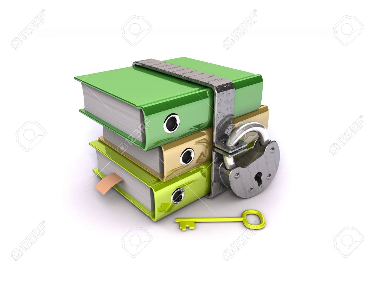 3D illustration of the image of a folder with the lock on a white background Stock Illustration - 11141093