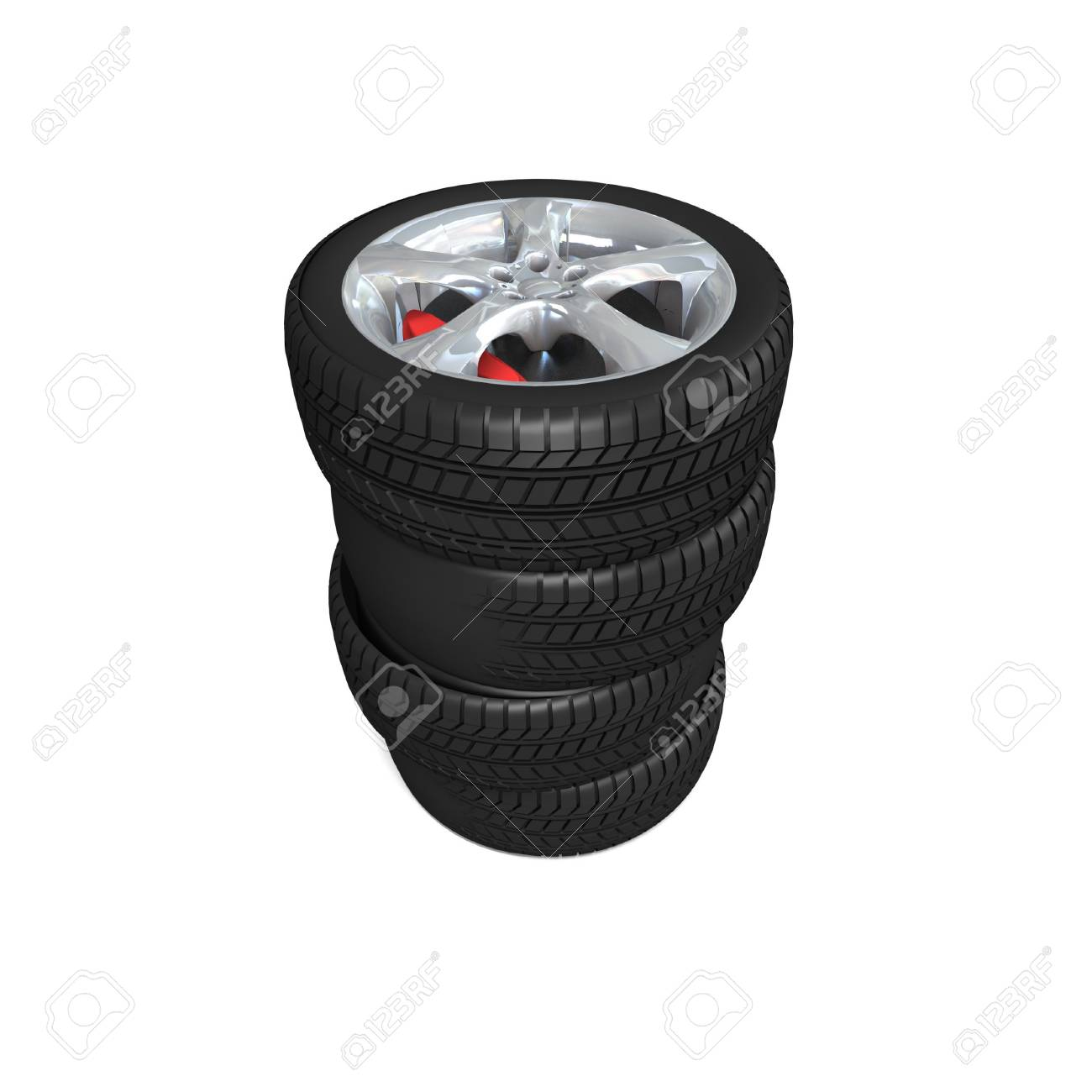 Wheel with steel rim over the white background Stock Photo - 12560044