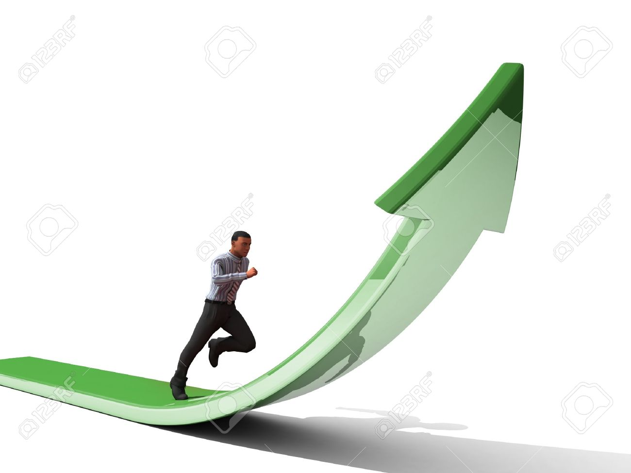 Businessman towards arrow pointing up direction overcome of economy recession concept 3d illustration Stock Illustration - 15218271