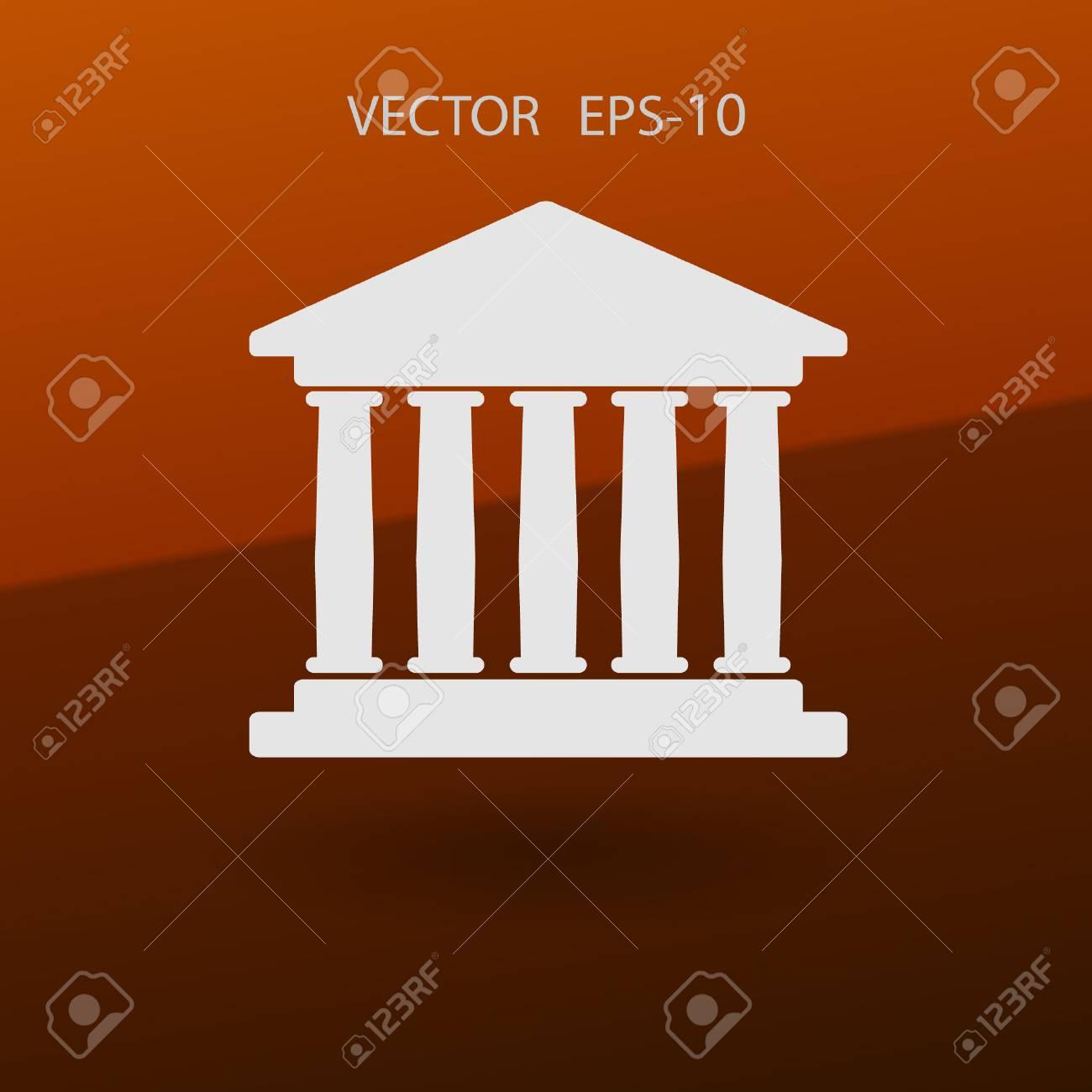 Banque Vectorielle icône plat du bâtiment de la banque. illustration vectorielle clip