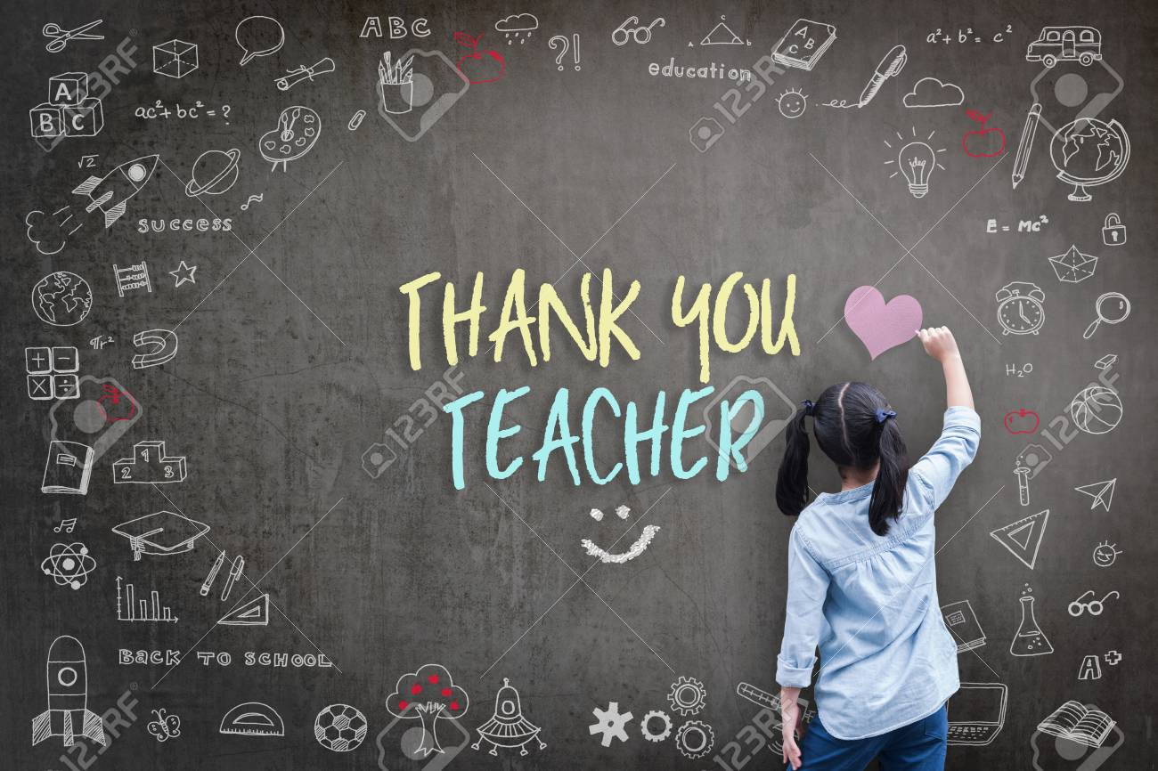 Thank You Teacher greeting for World teacher's day concept with school student back view drawing doodle of of learning education graphic freehand illustration icon on black - 111710008