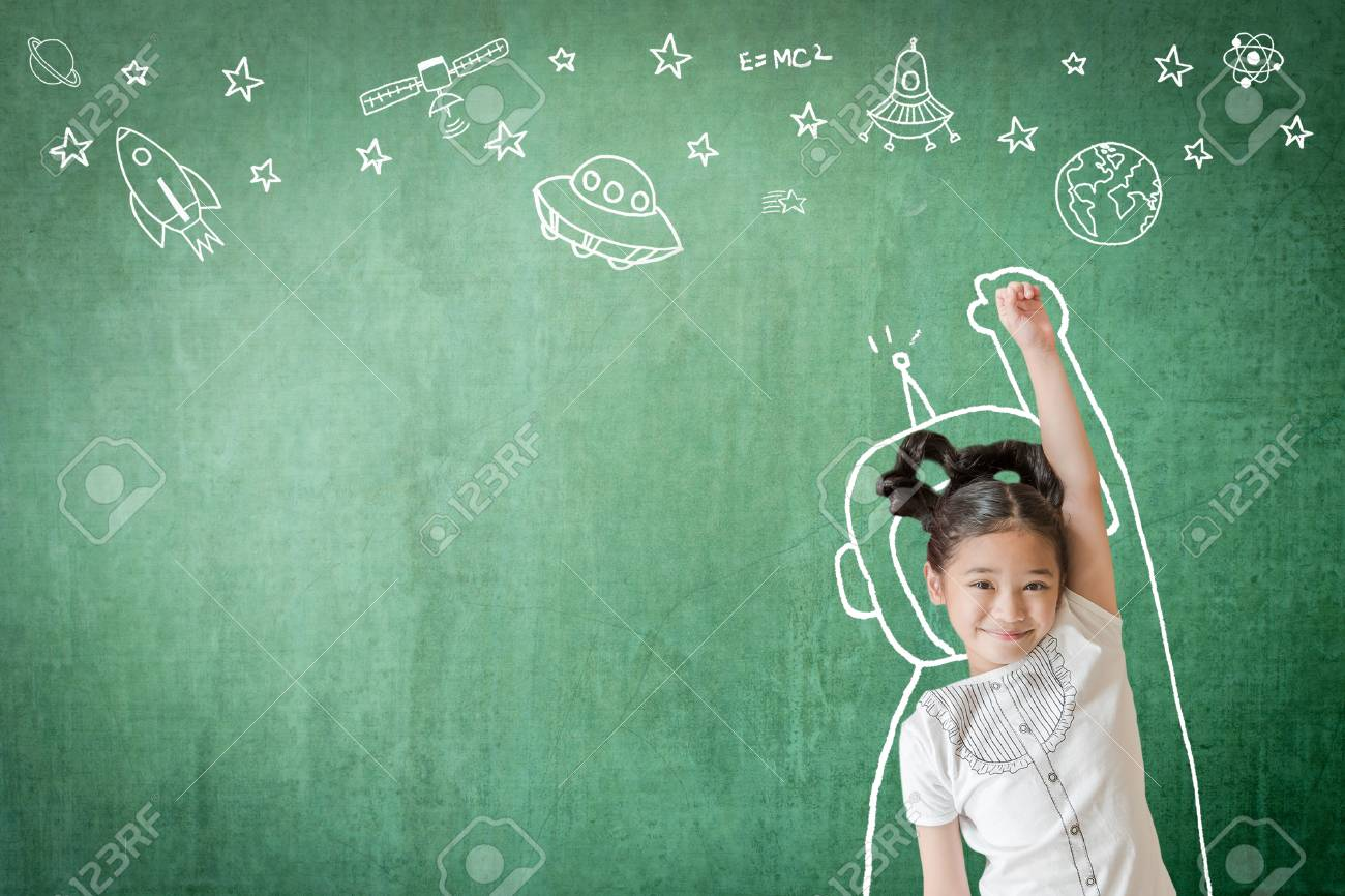 Kid's learning inspiration in successful education with creative imagination for back to school concept and STEM science technology engineering maths with doodle on aviation on green chalkboard - 111612002