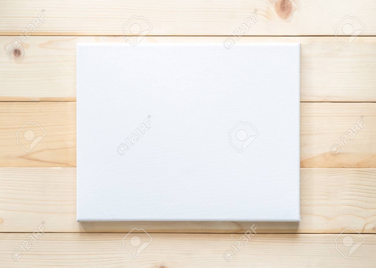 Blank Canvas Frame Mockup Rectangular Size On White Wood Wall