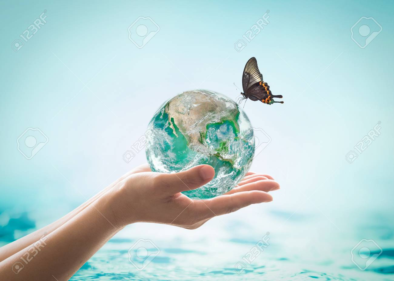 World ocean day,, saving water campaign, sustainable ecological ecosystems concept with green earth on woman's hands on blue sea background - 116067210