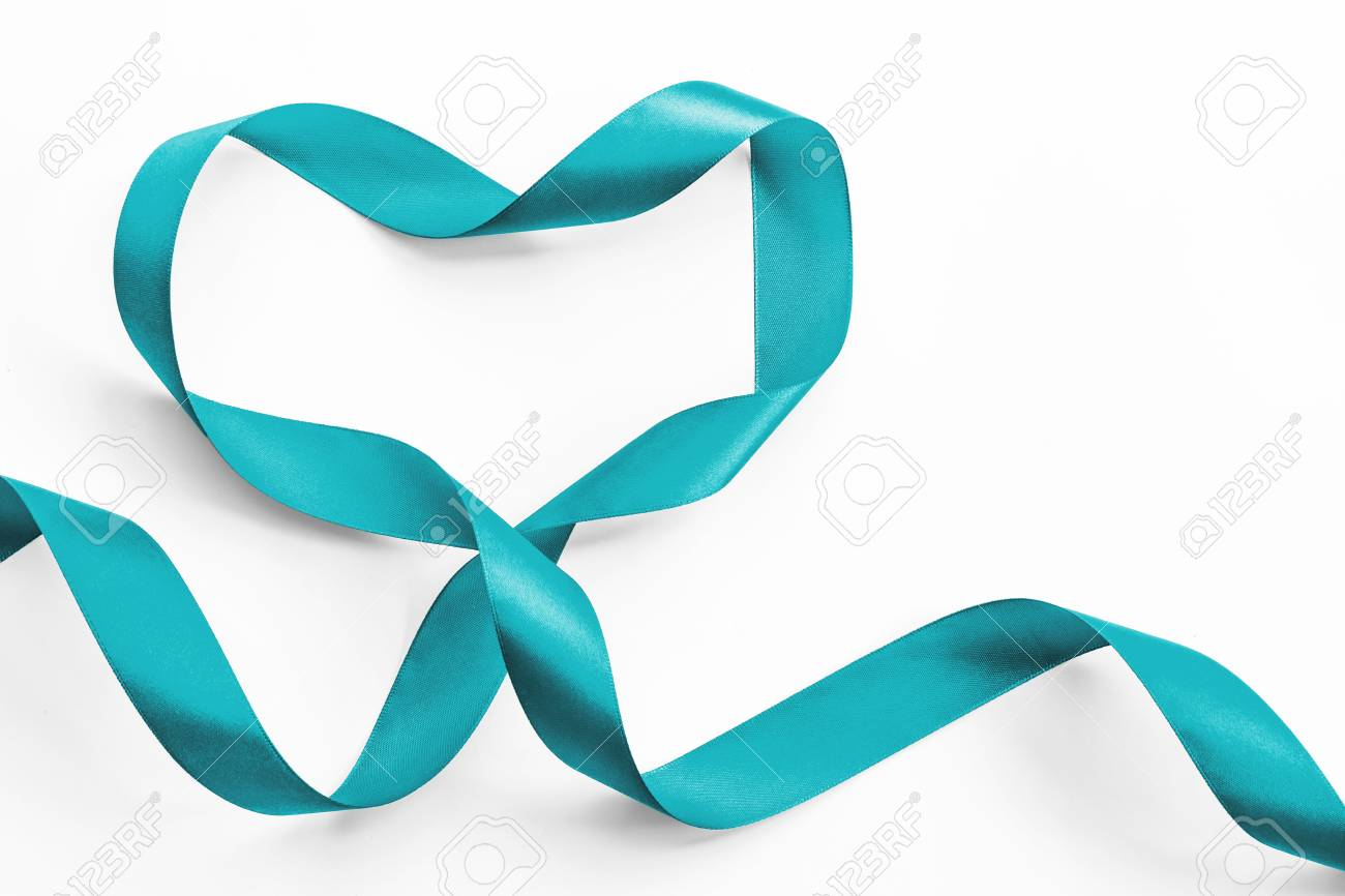 Teal Ribbon Awareness In Heart Shape Isolated On White Symbolic Stock Photo Picture And Royalty Free Image Image 116056803