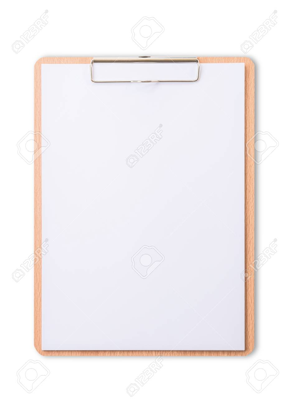Clipboard note pad mock up with blank A4 size white page paper isolated on white background for business and education mockup template - 119067851