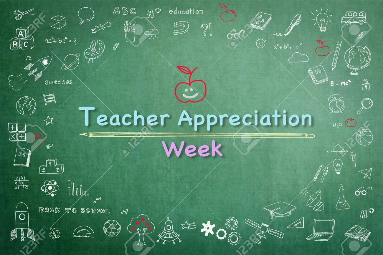 National teacher appreciation week on green chalkboard with doodle - 122758740