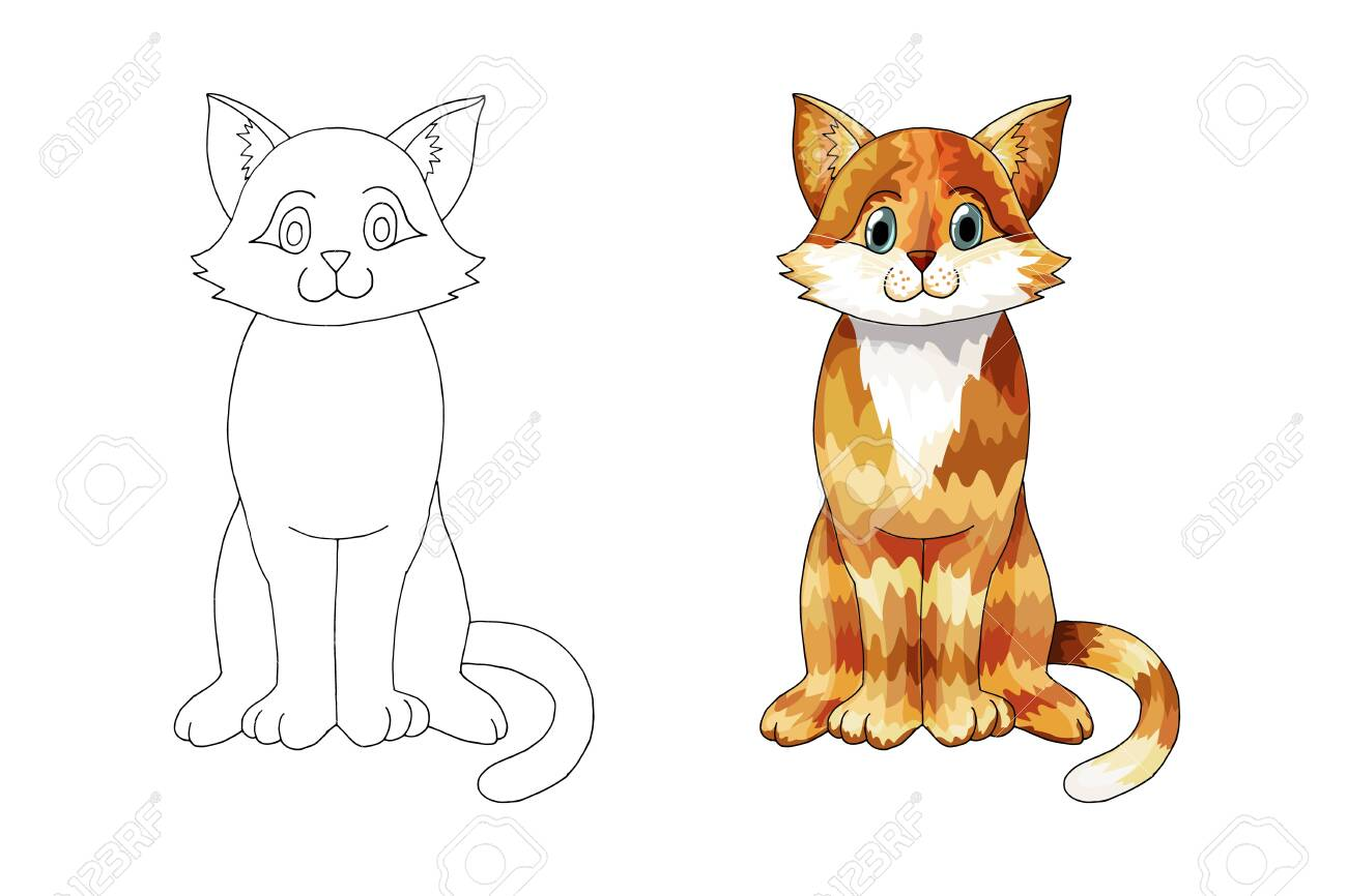 Hand Drawn Ginger Cartoon Cat Orange Colored Doodle Animal Vector Royalty Free Cliparts Vectors And Stock Illustration Image 124074719