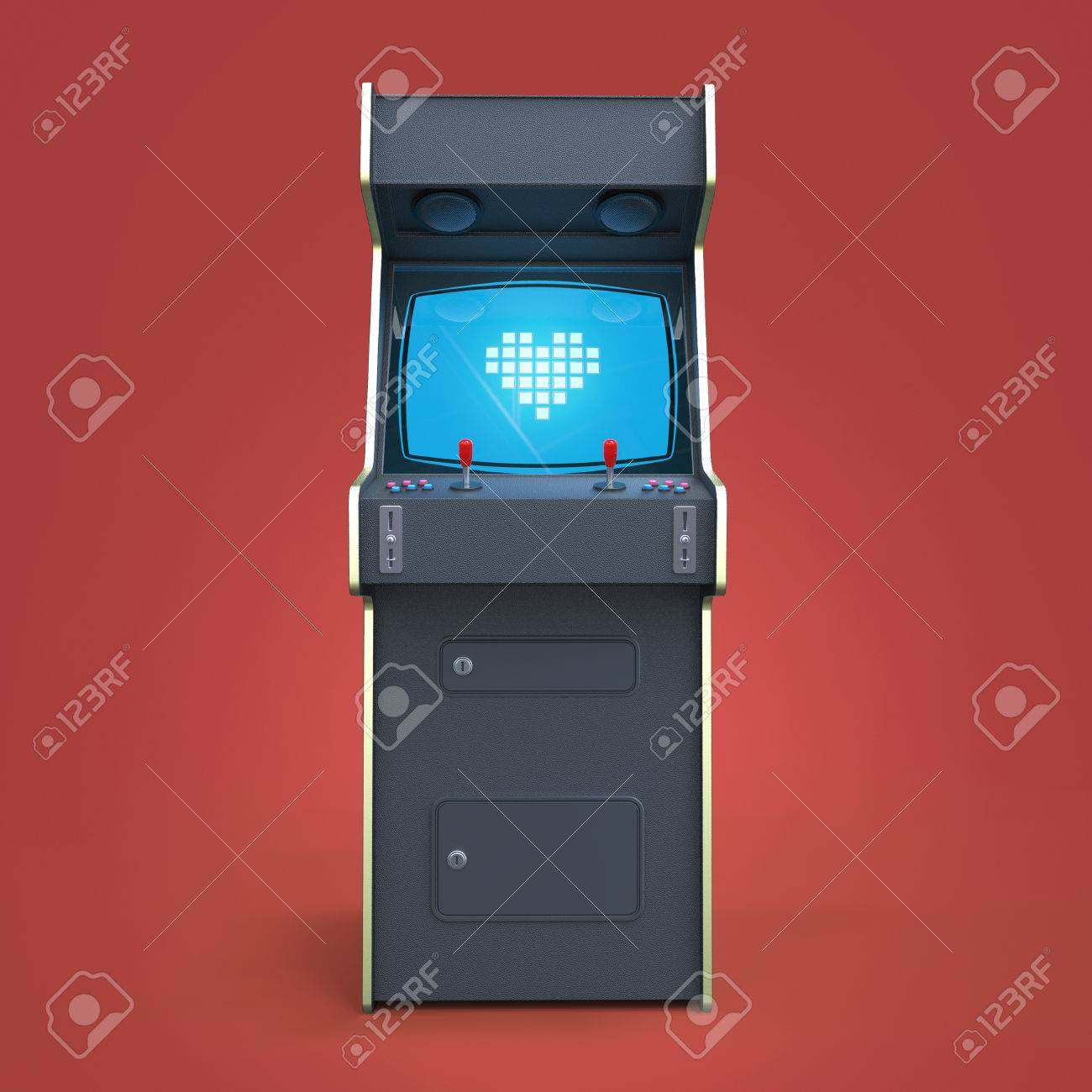 A Vintage Arcade Game Machine Cabinet With Pixel Heart Icon Colorful  Controllers And A Screen Isolated