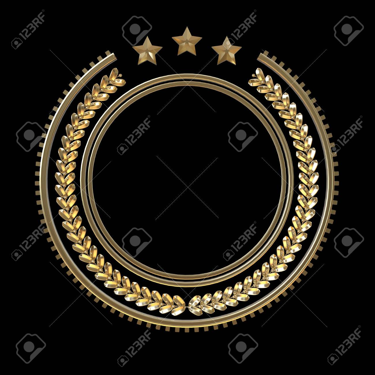 High Quality Metal Badge Template With Laurel Wreath And Stars ...