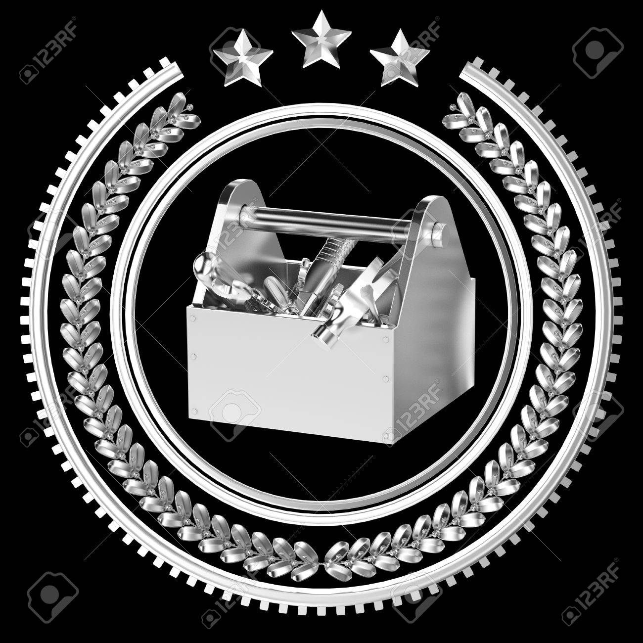 High Detailed Precious Metal Toolbox With Tools In Laurel Wreath Stock Photo Picture And Royalty Free Image Image 53559649
