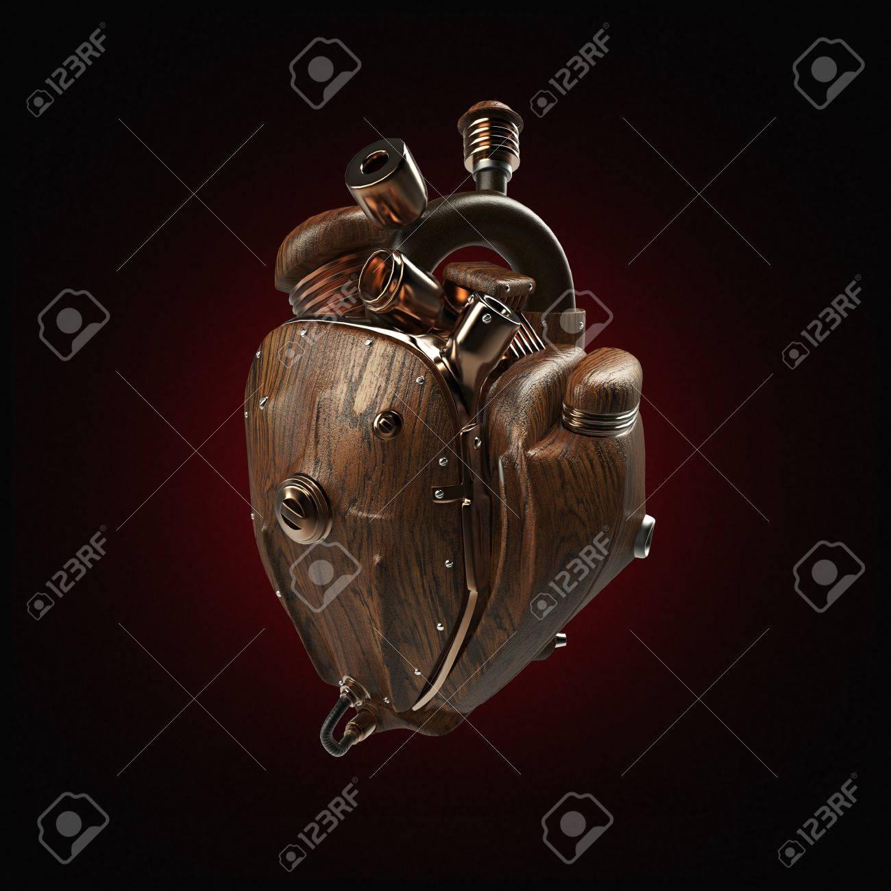 Mecha Corazón Del Robot Del Techno Steampunk. Motor Con Tubos ...