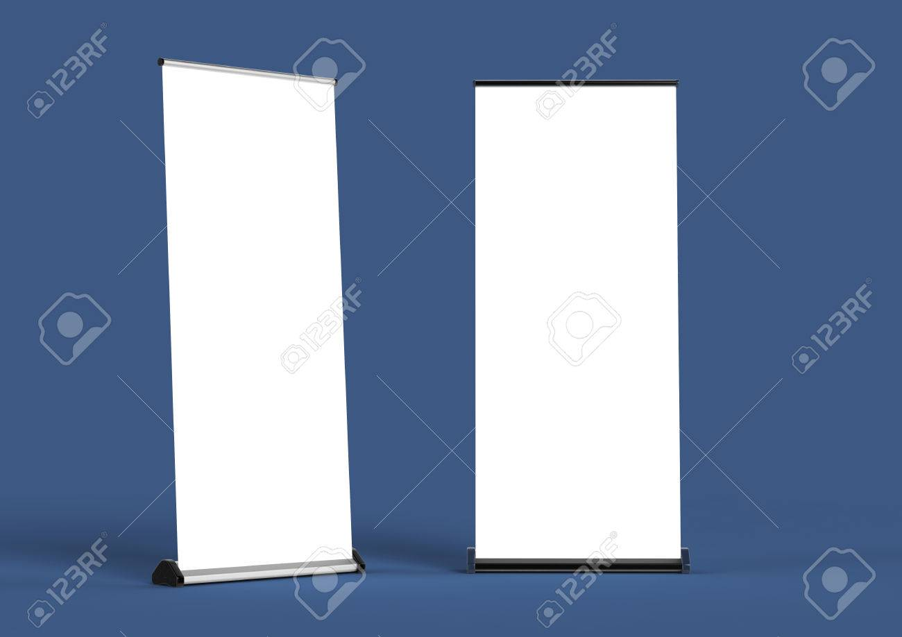 blank roll up banners template 3d rendering isolated on color
