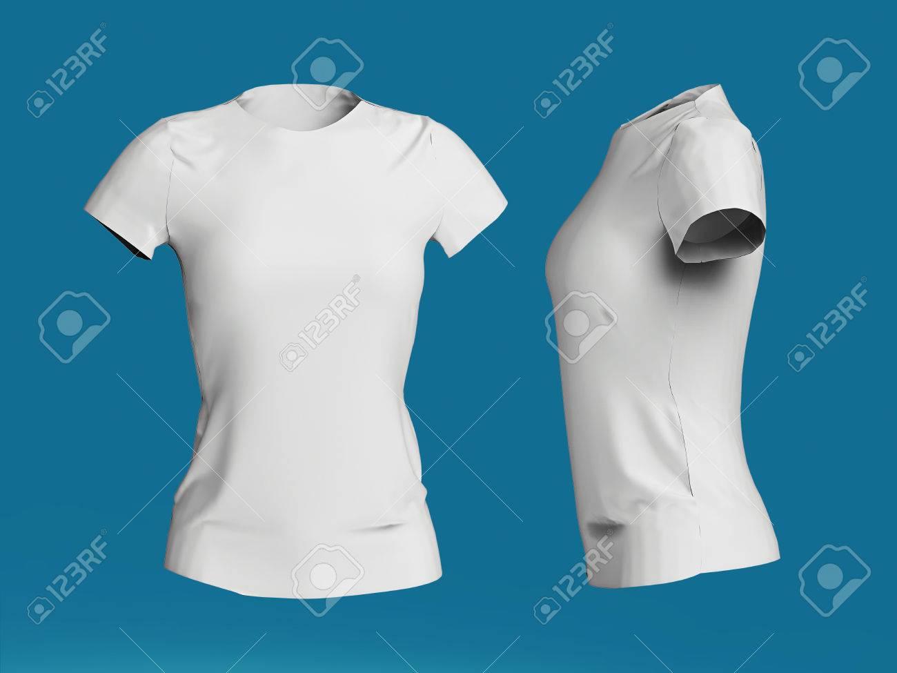 Blank Women T-shirt Template Isolated 3d Render.Promo Girls Uniform ...