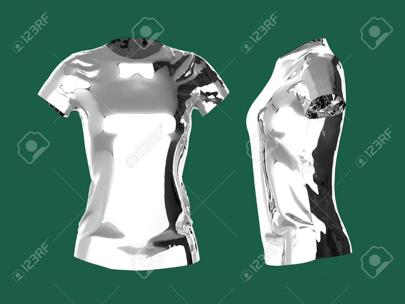 Silber Leere Frauen T-Shirt-Vorlage 3D Render.Promo Mädchen Uniform ...
