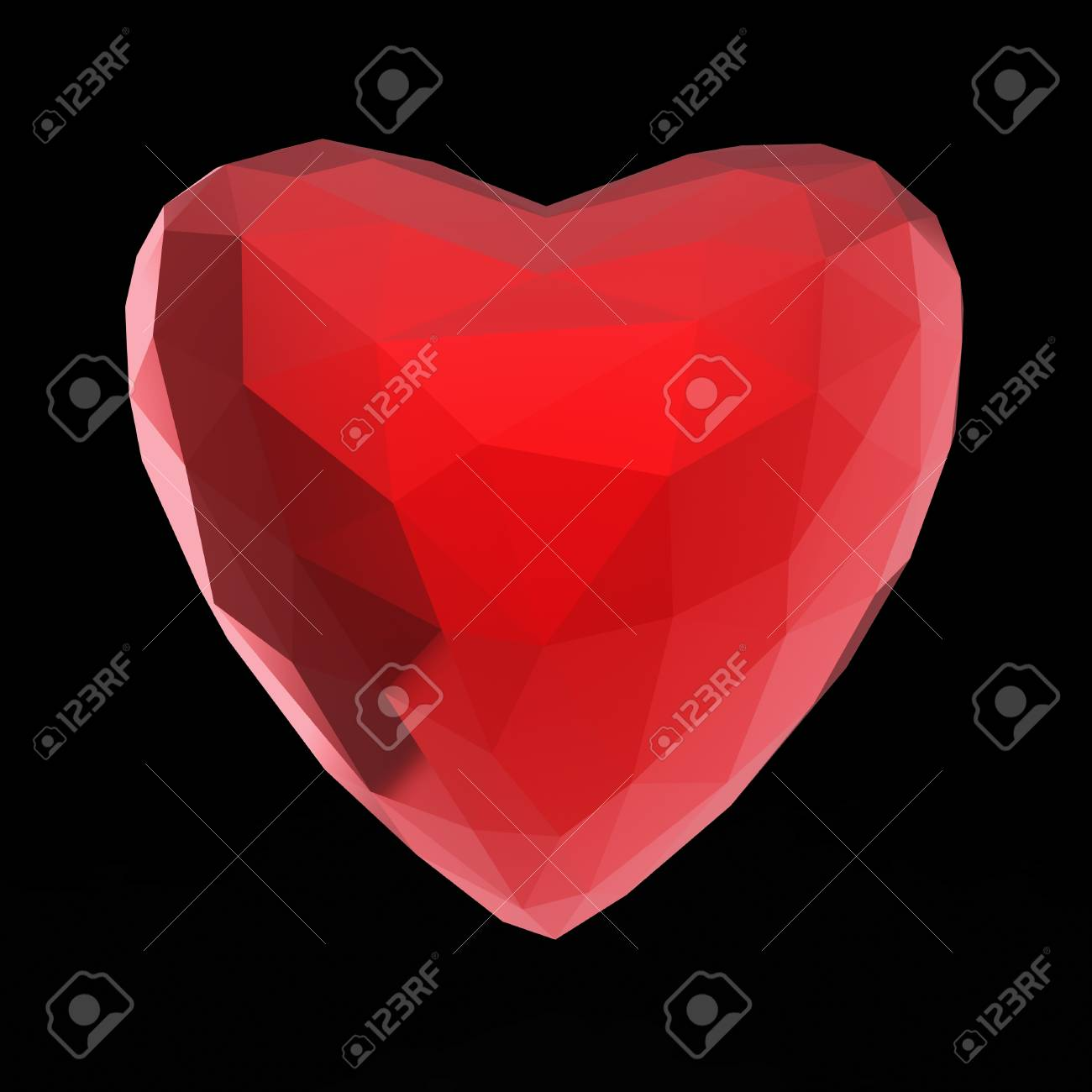 Beautiful low poly white crystal heart isolated on black background