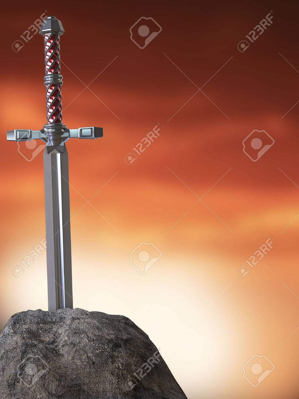 Stock Photo Sword Excalibur King Arthur Stuck In The Rock Stone Isolated 3d Render Metaphor Of Candidate Applicant Test