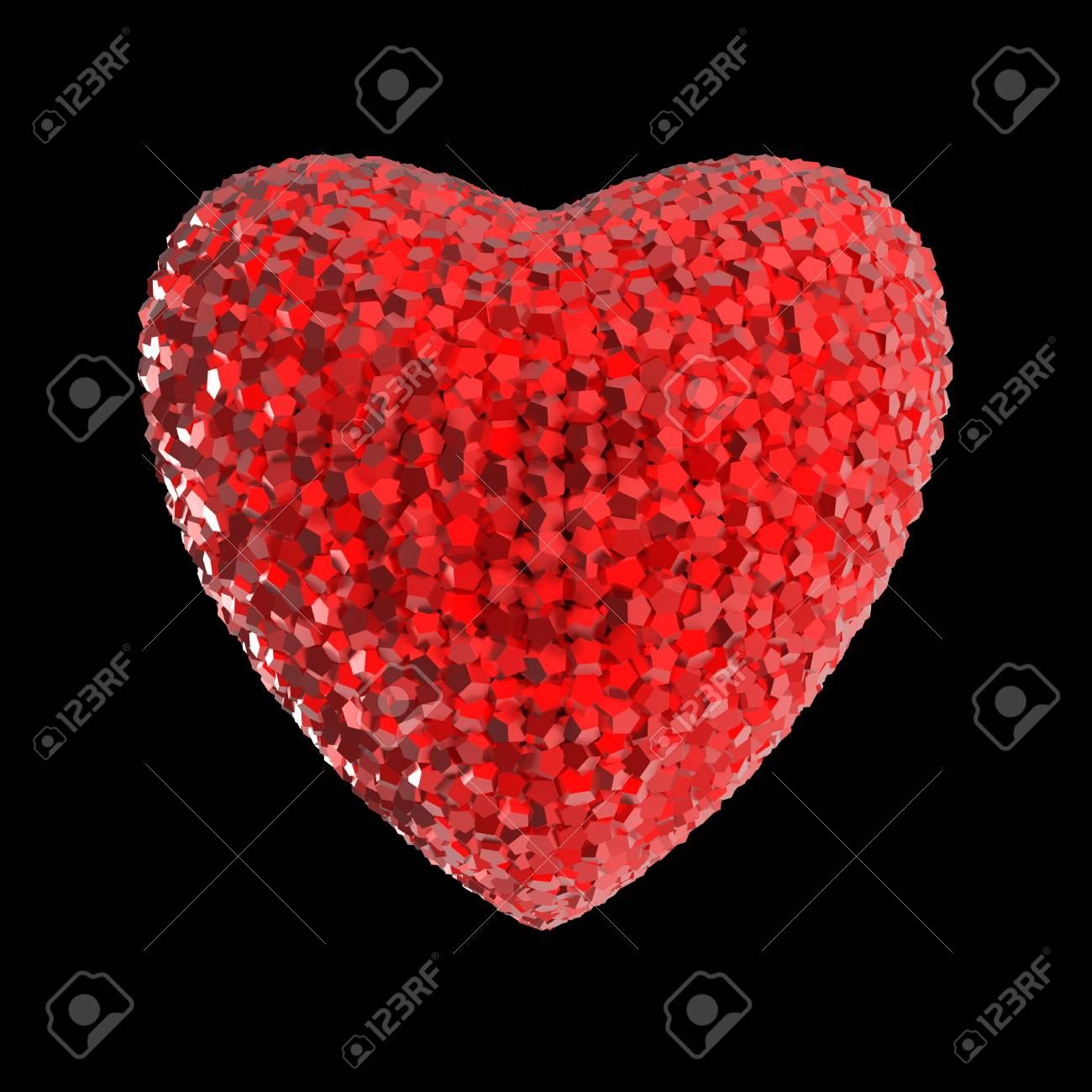 f9f51faad3 Disco style 3d rendered heart made out of shiny colorful crystals isolated  on black Valentines