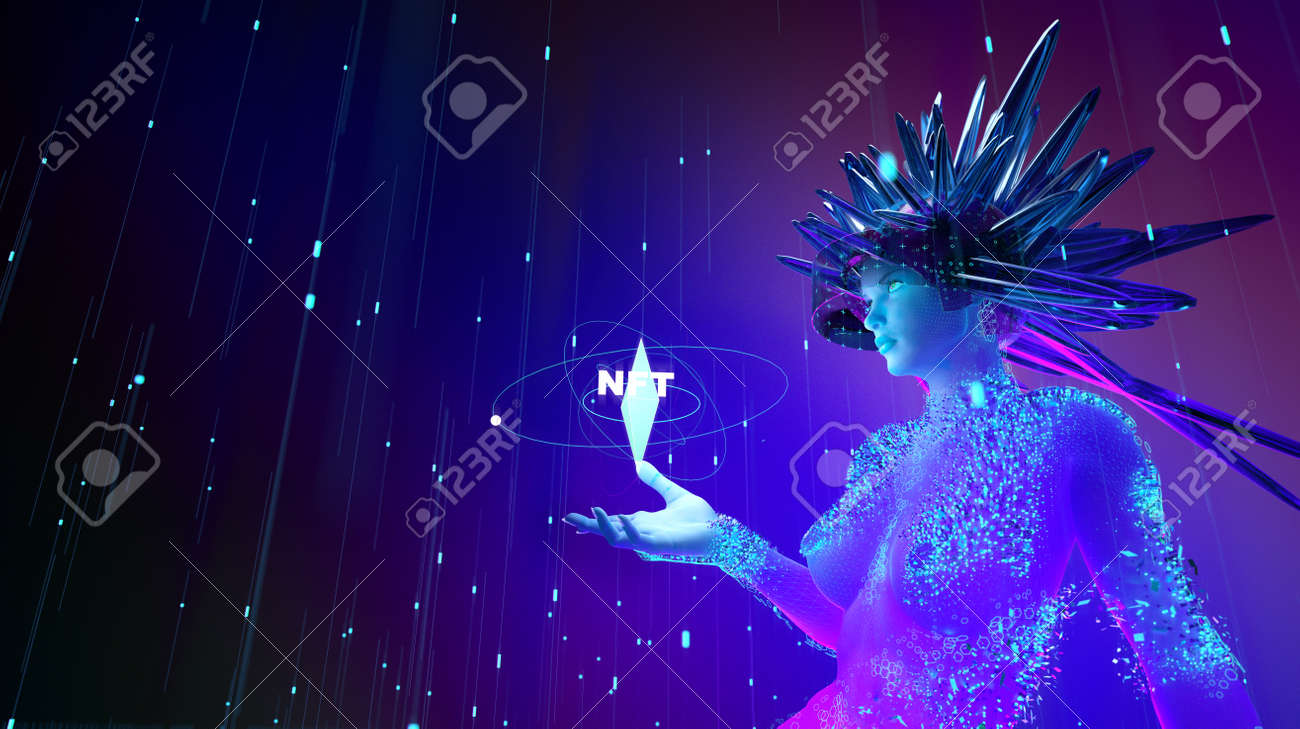 NFT non fungible tokens crypto art on colorful abstract background. glowing VR girl with NFT token symbol Pay for unique collectibles in games or art. 3d render of NFT crypto art collectibles concept. - 166907344