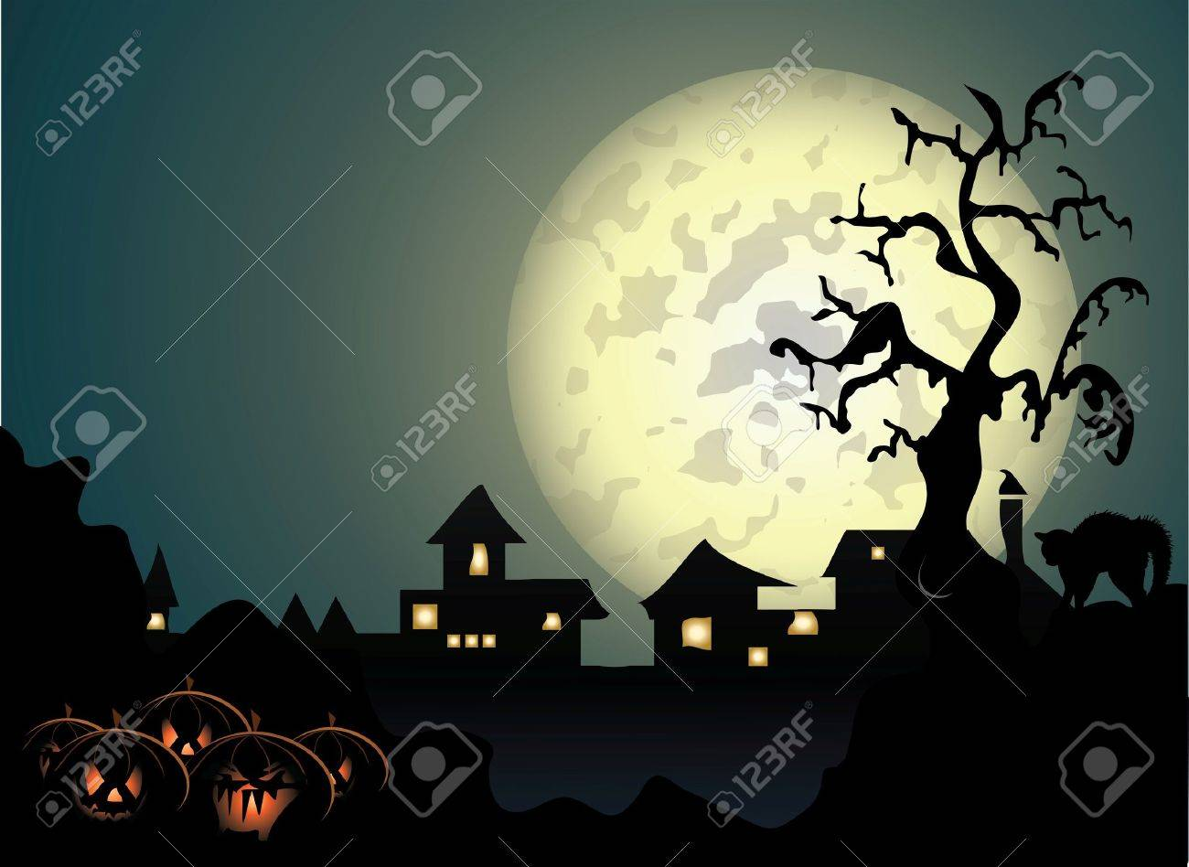 Halloween background with spooky tree and cat in editable   format Stock Vector - 7920619