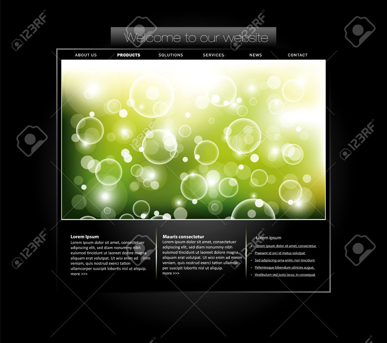 Website template with bubbled banner in editable vector format Stock Vector - 9368459