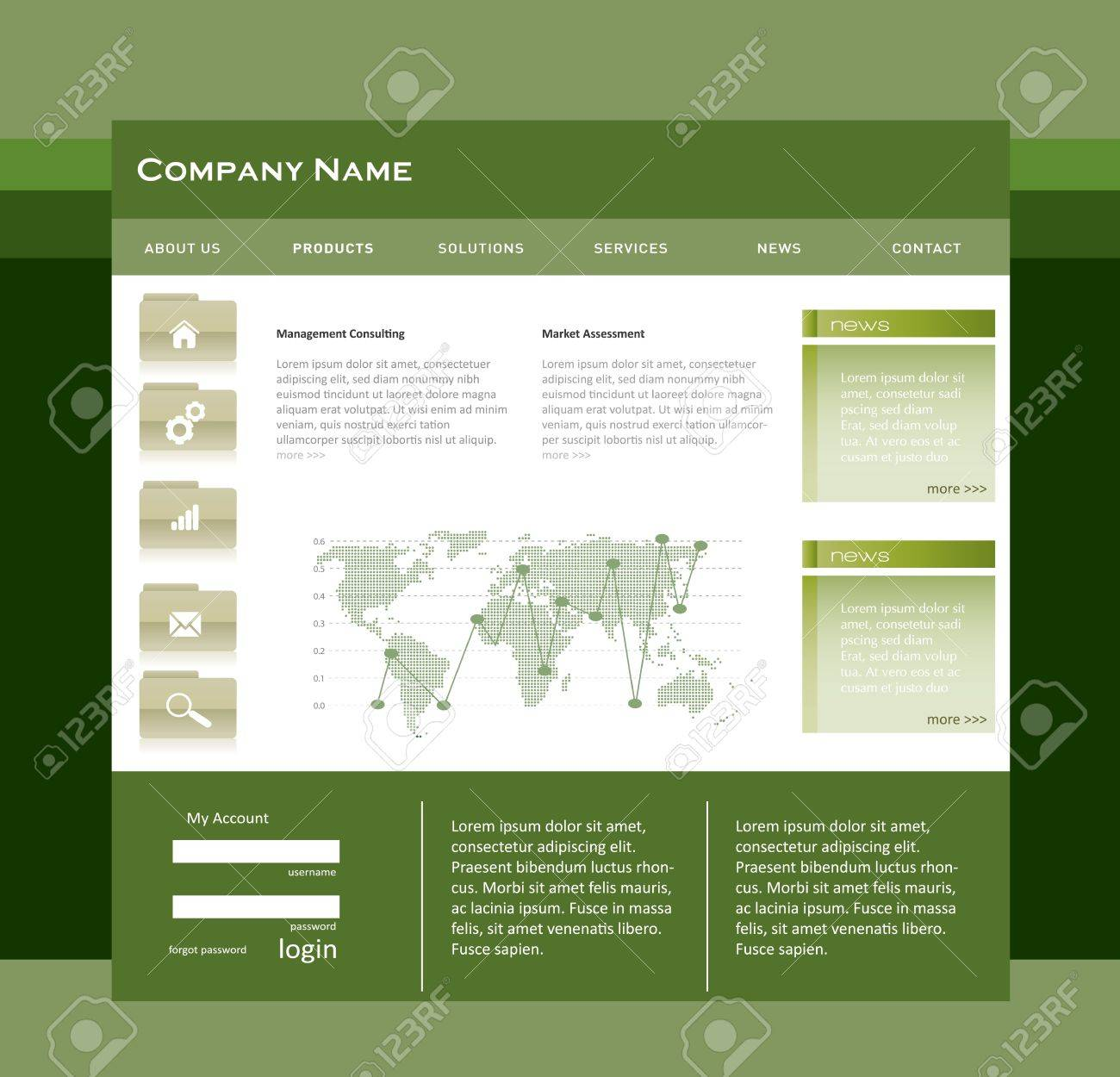Simple Website Template In Editable Vector Format Royalty Free ...