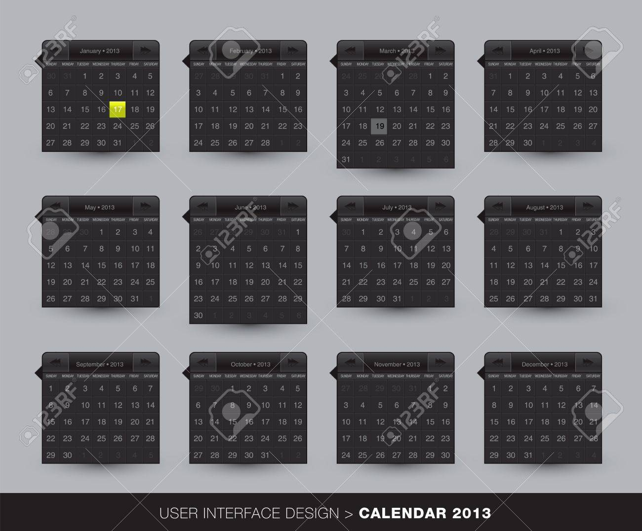 2013 monthly Calendar design for mobile phone in editable vector format Stock Vector - 16643304