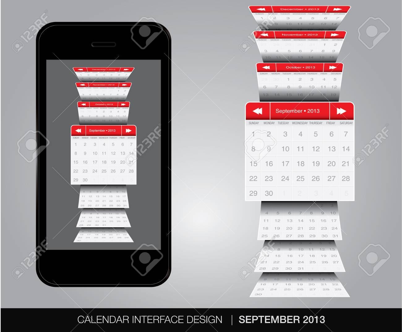 September Calendar interface concept Stock Vector - 20678909