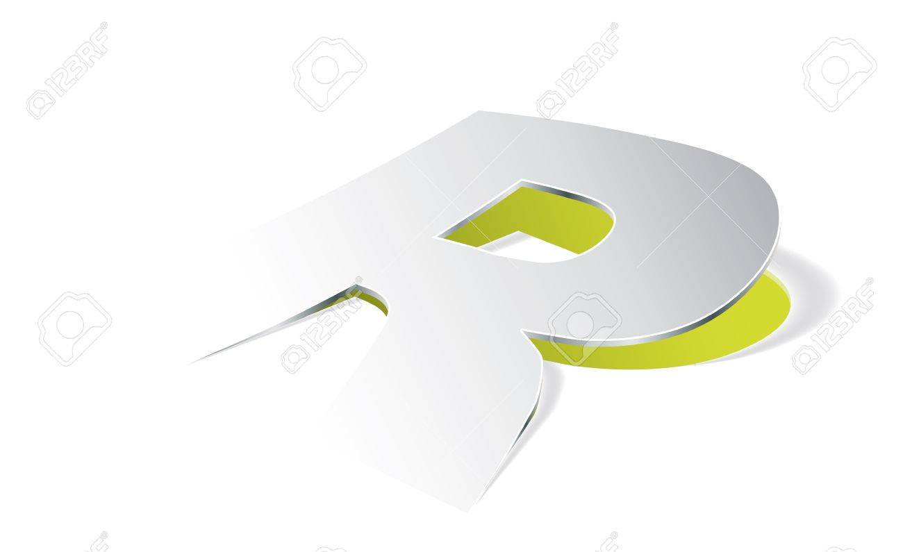 Paper folding with letter R in perspective view Stock Vector - 20678879