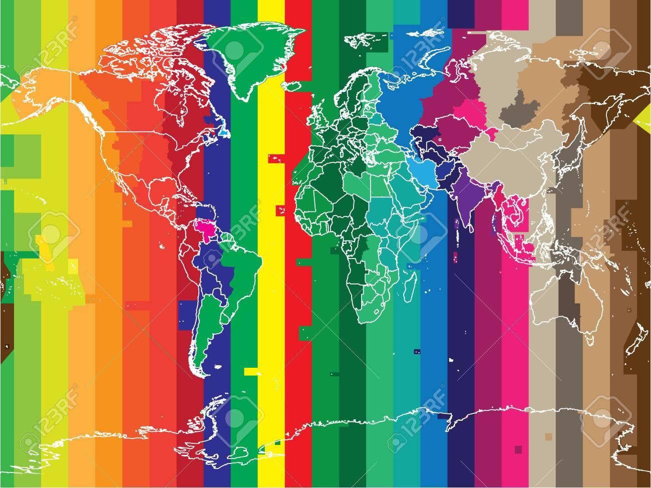 Carte Du Monde Avec Les Pays Et Fuseaux Horaires De Couleur Dans