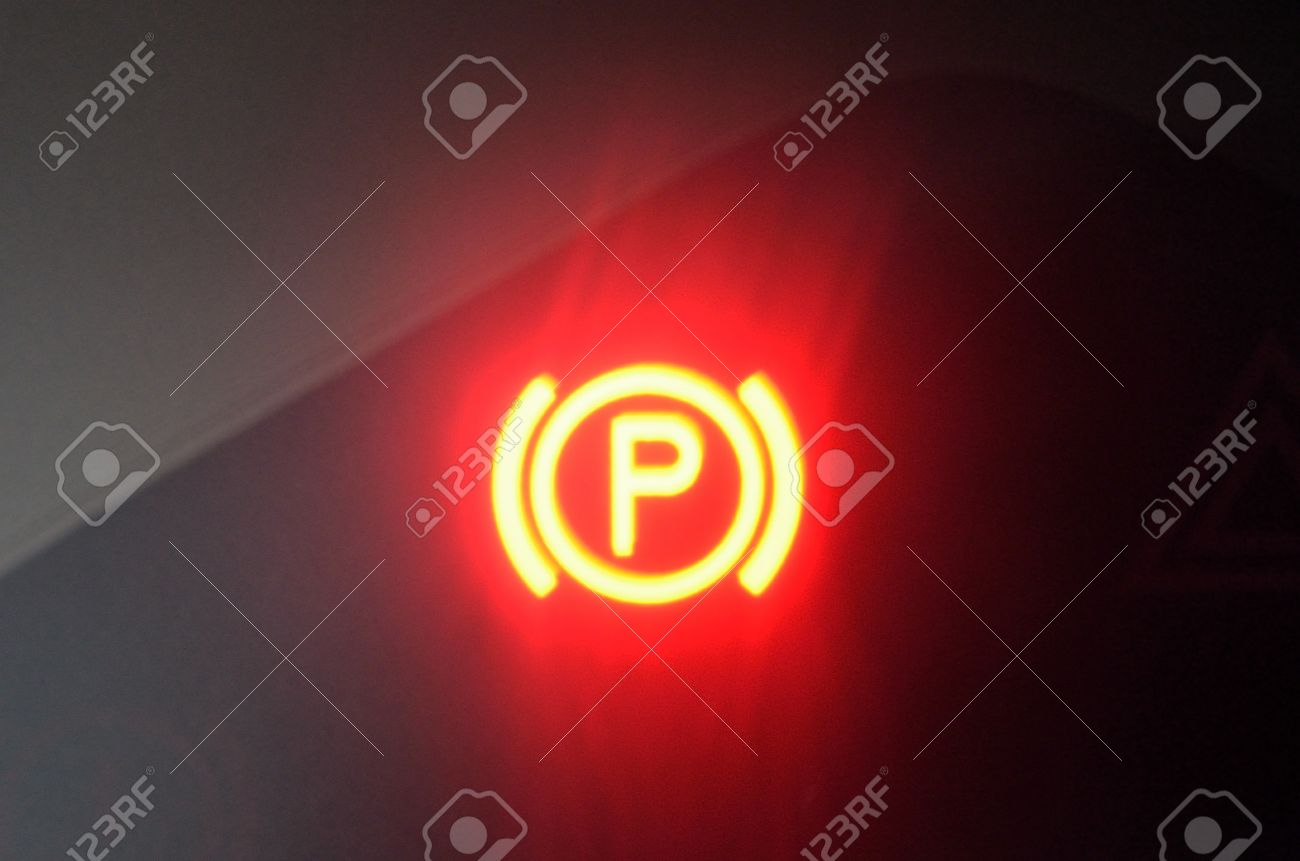 Bright Red Handbrake Parking Brake Warning Light Stock Photo   30161121