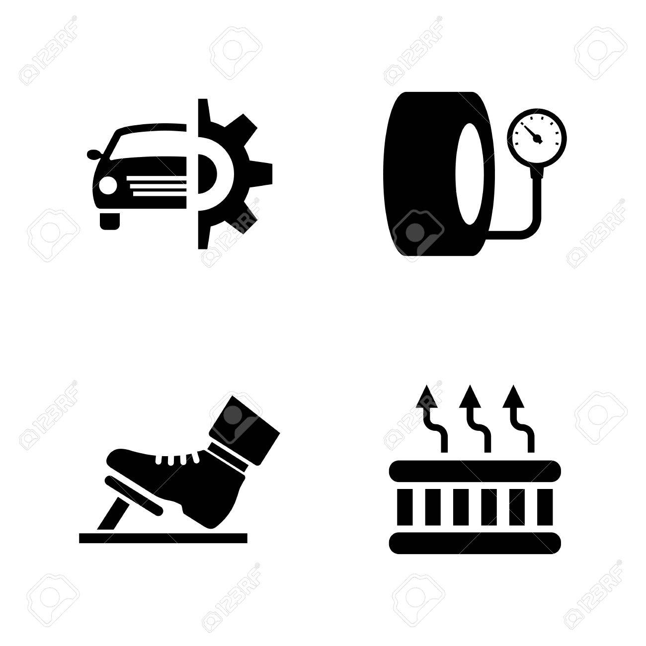 Car Parts. Simple Related Vector Icons Set For Video, Mobile ...