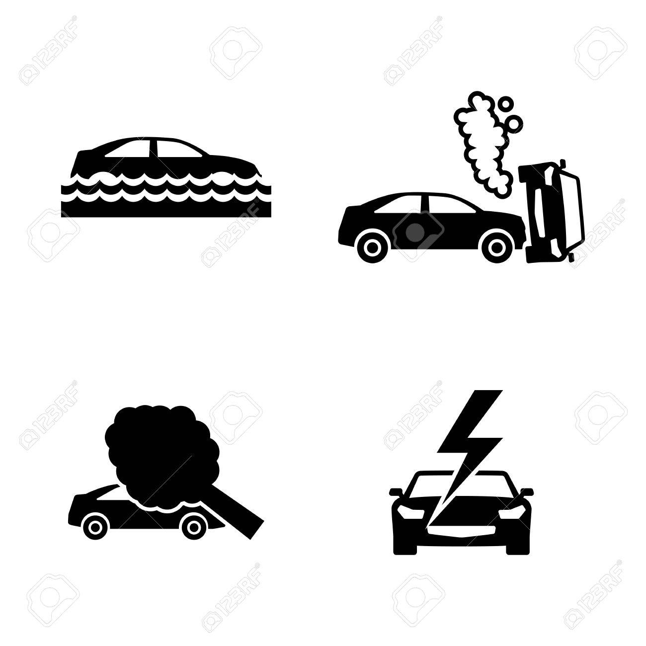 Car Crashes. Simple Related Vector Icons Set For Video, Mobile ...