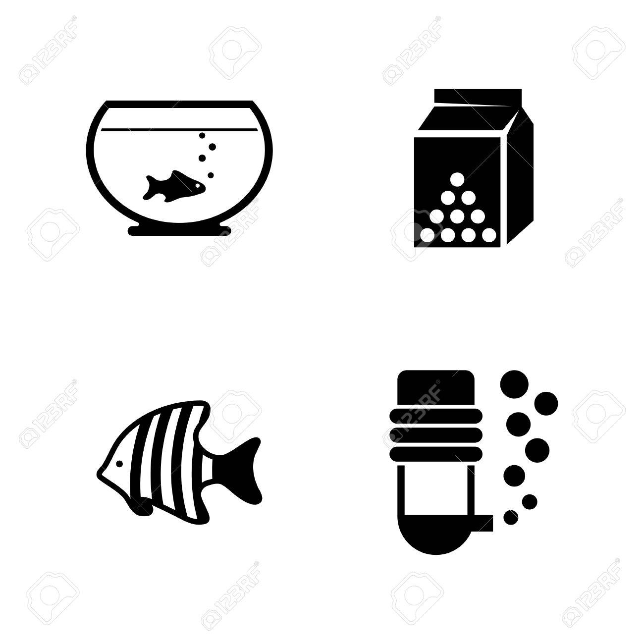 Aquarium Fish Simple Related Vector Icons Set For Video Mobile