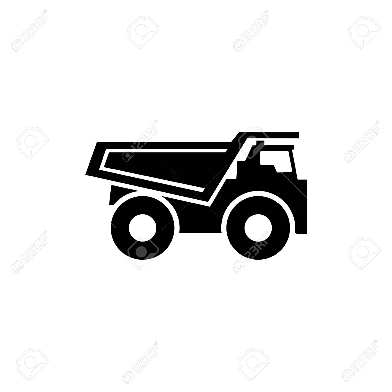 Dump truck flat vector icon simple black symbol on white background stock photo