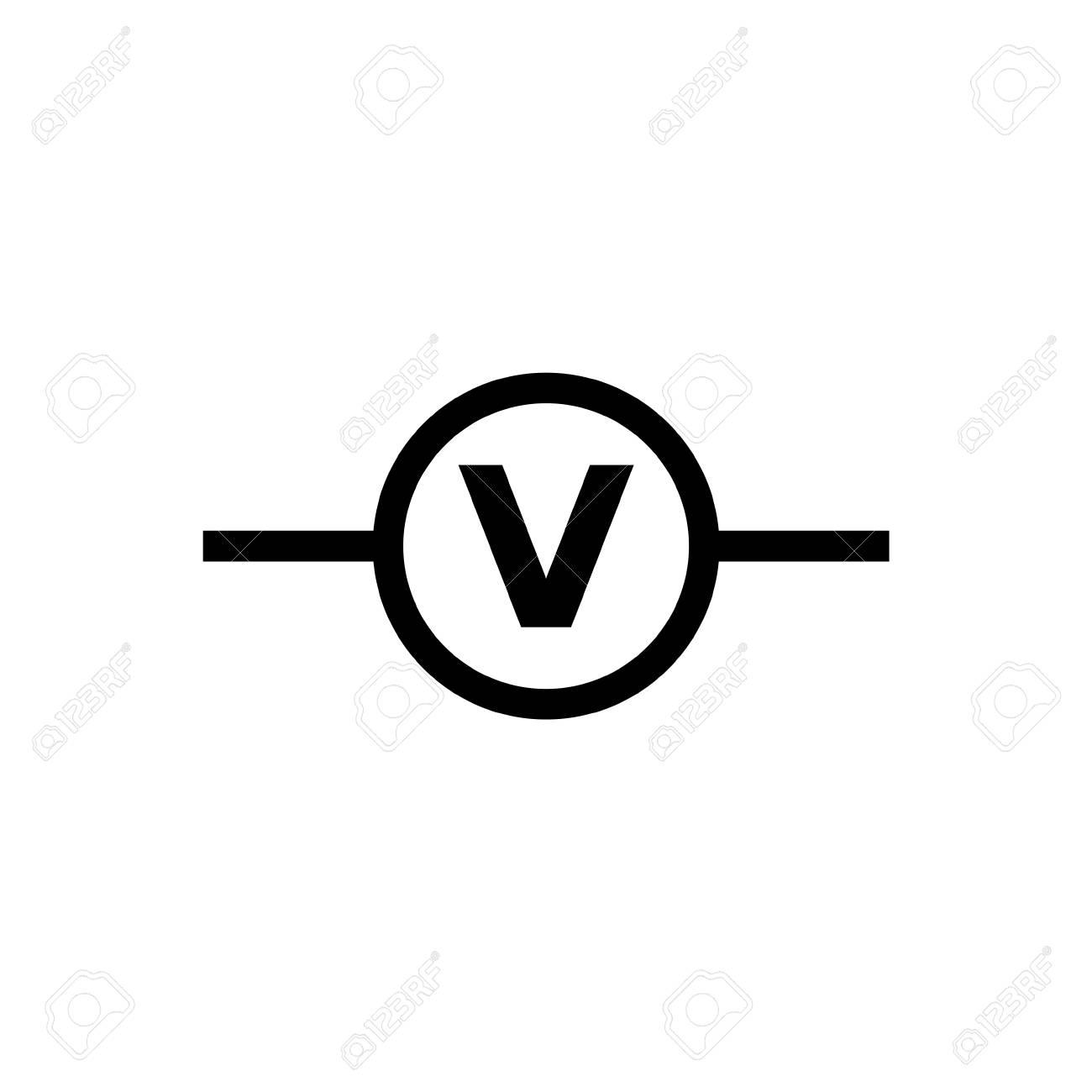 Electric Circuit Voltmeter. Flat Vector Icon. Simple Black Symbol ...