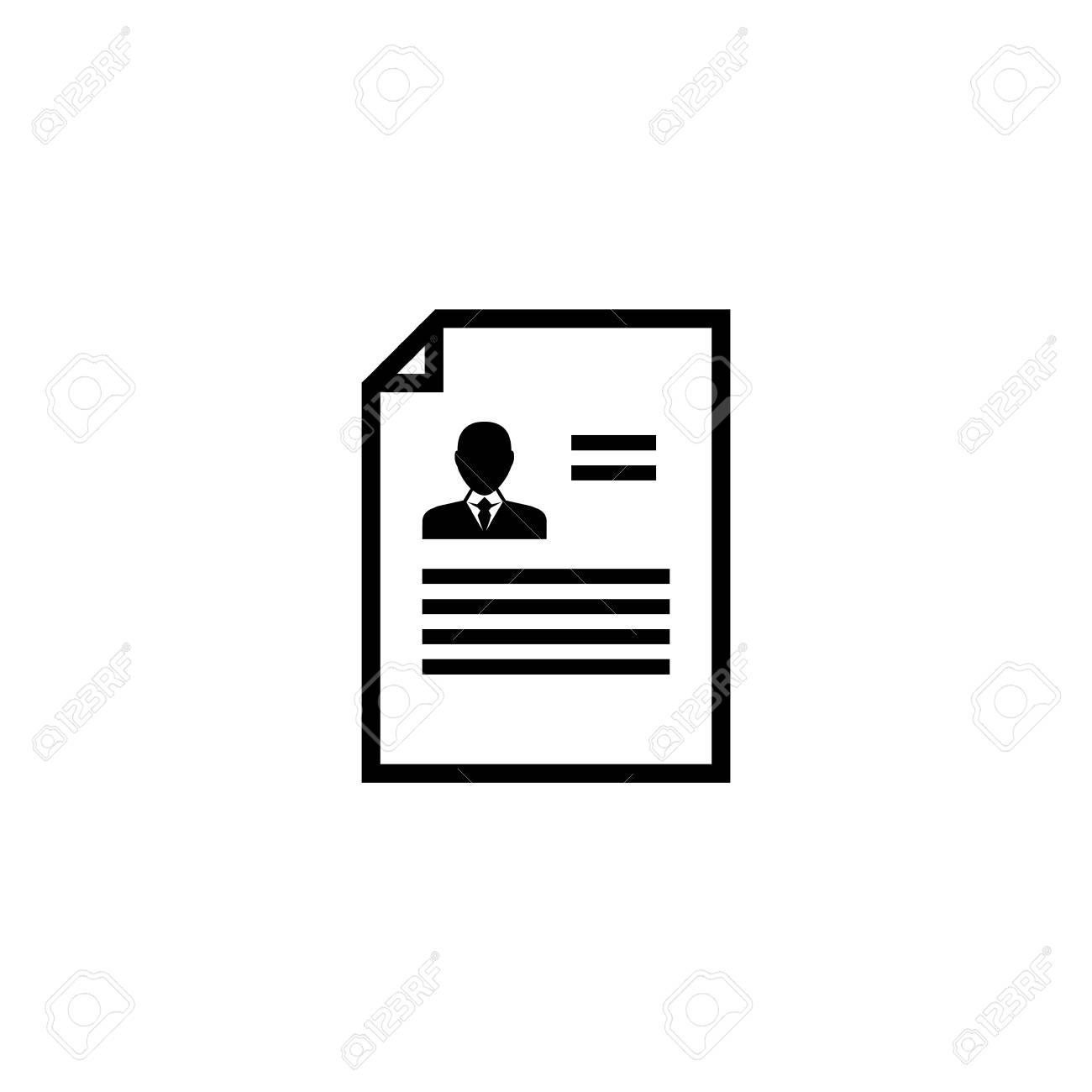 Resume CV. Flat Vector Icon Illustration. Simple Black Symbol ...
