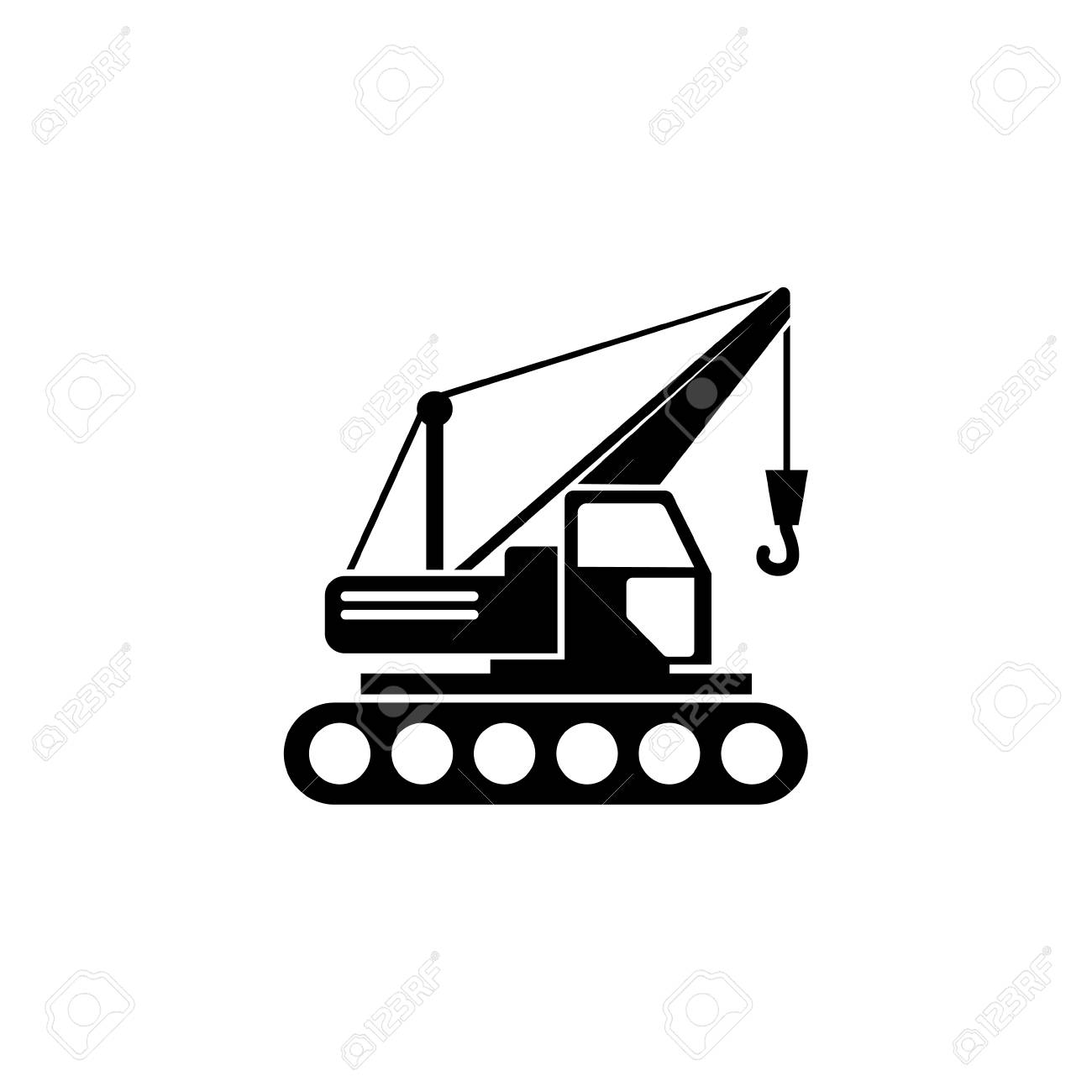 Building Crawler Crane  Flat Vector Icon illustration  Simple