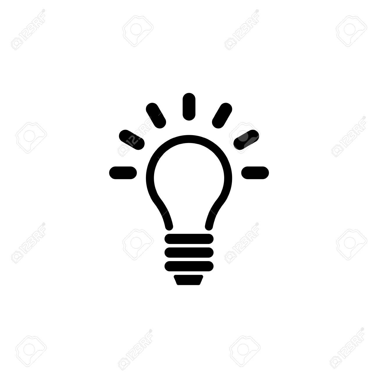 Lamp, Light Bulb, Idea. Flat Vector Icon illustration. Simple black symbol on white background. Lamp, Light Bulb, Idea sign design template for web and mobile UI element - 105626775
