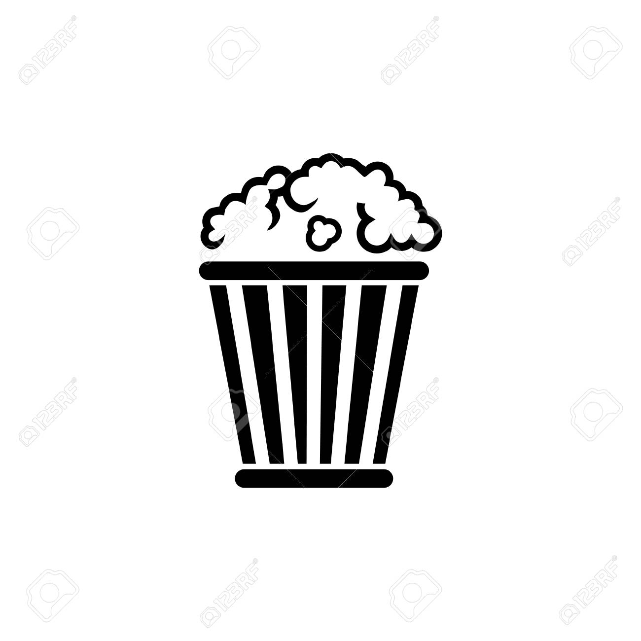 Popcorn Bucket Pop Corn Box Flat Vector Icon Illustration
