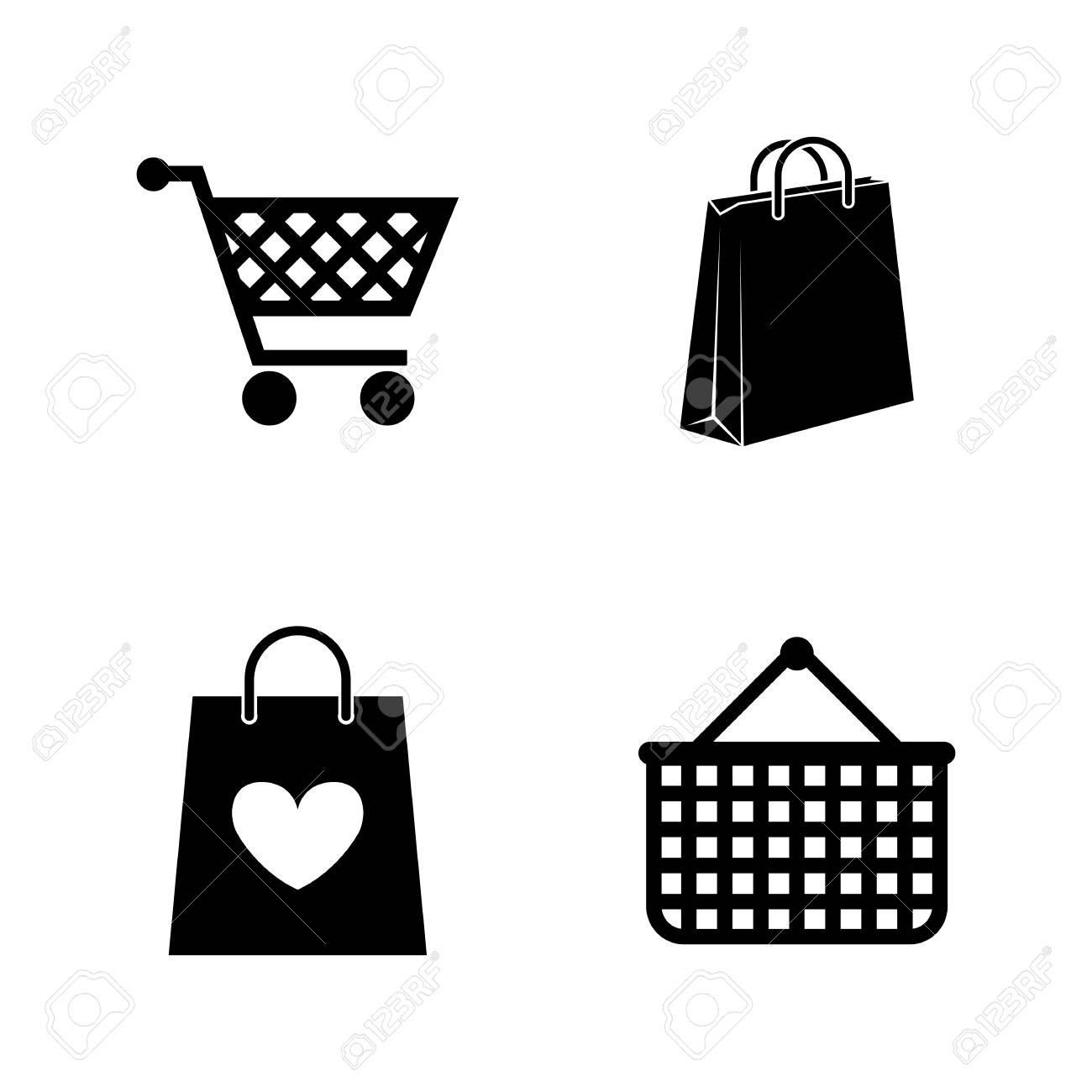 Shopping Bag Simple Related Vector Icons Set For Video Mobile Apps