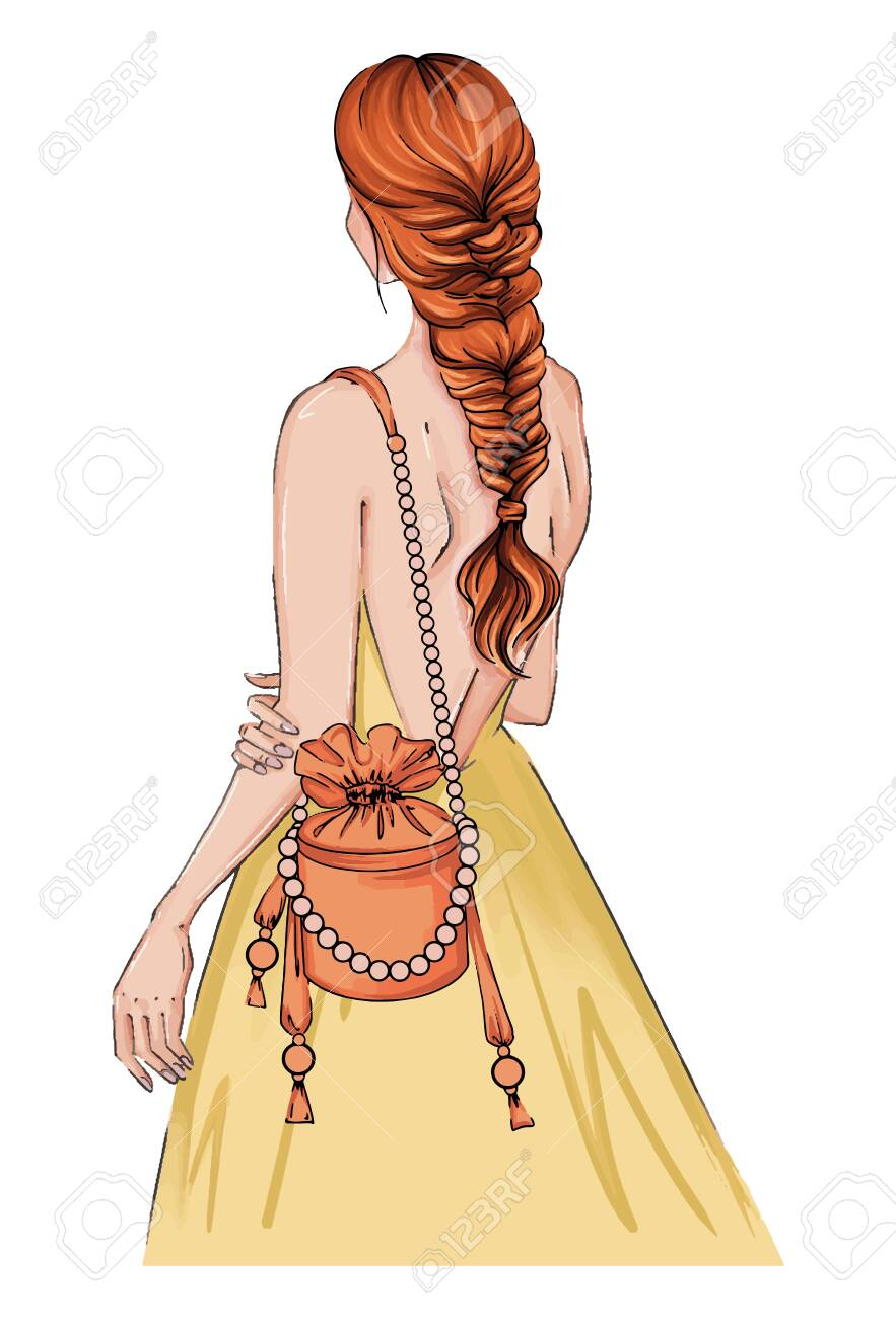 Hand drawn illustration woman in a dress with fashion bag. Beautiful fashion art girl stands with her back in a yellow dress. bride woman, stands hairstyle. Bridal card illustration dress, bag pearls - 154783318