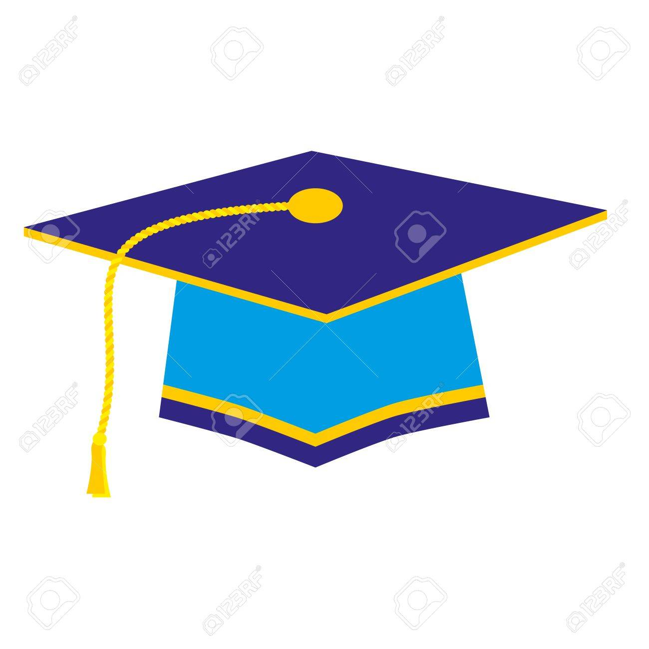 Blue Graduation Cap With Gold Tassel Royalty Free Cliparts Vectors