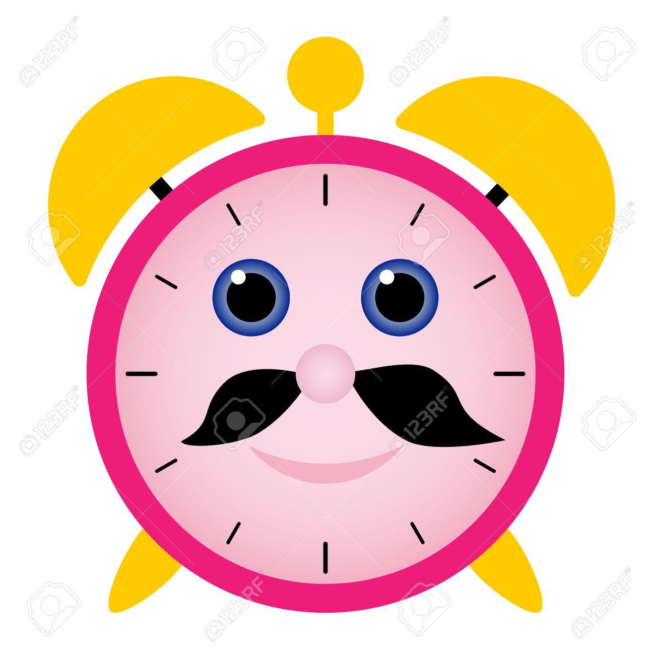 funny alarm clock with happy face black beard and blue eyes royalty rh 123rf com