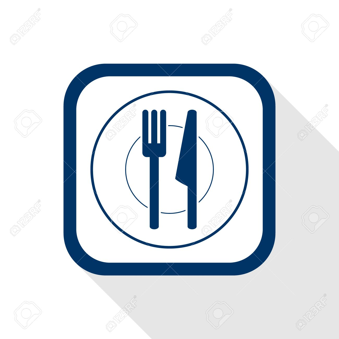 square blue icon plate and cutlery with long shadow - symbol of restaurant menu kitchen  sc 1 st  123RF.com & Square Blue Icon Plate And Cutlery With Long Shadow - Symbol ...