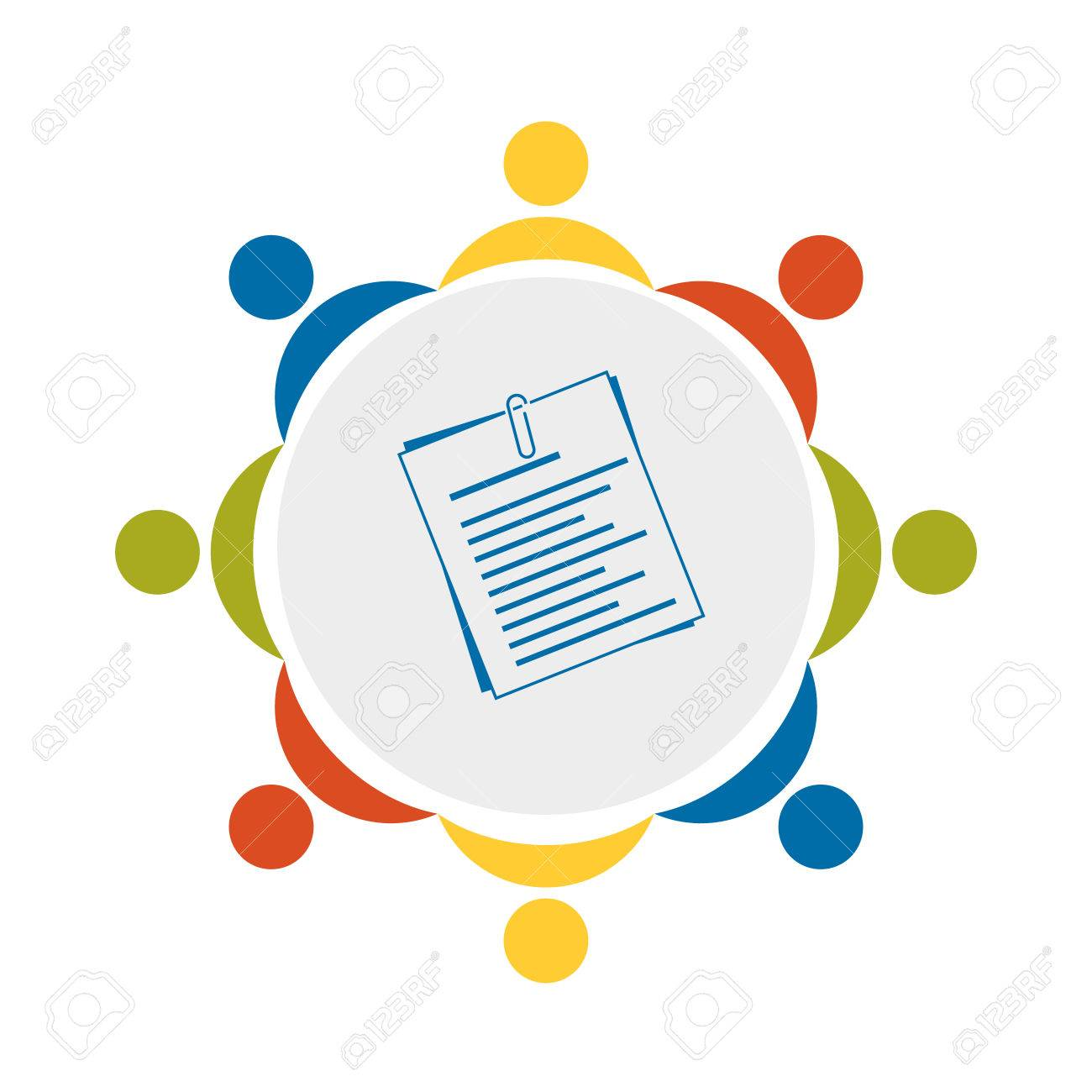 teamwork icon symbol of teambulding documents resume meeting