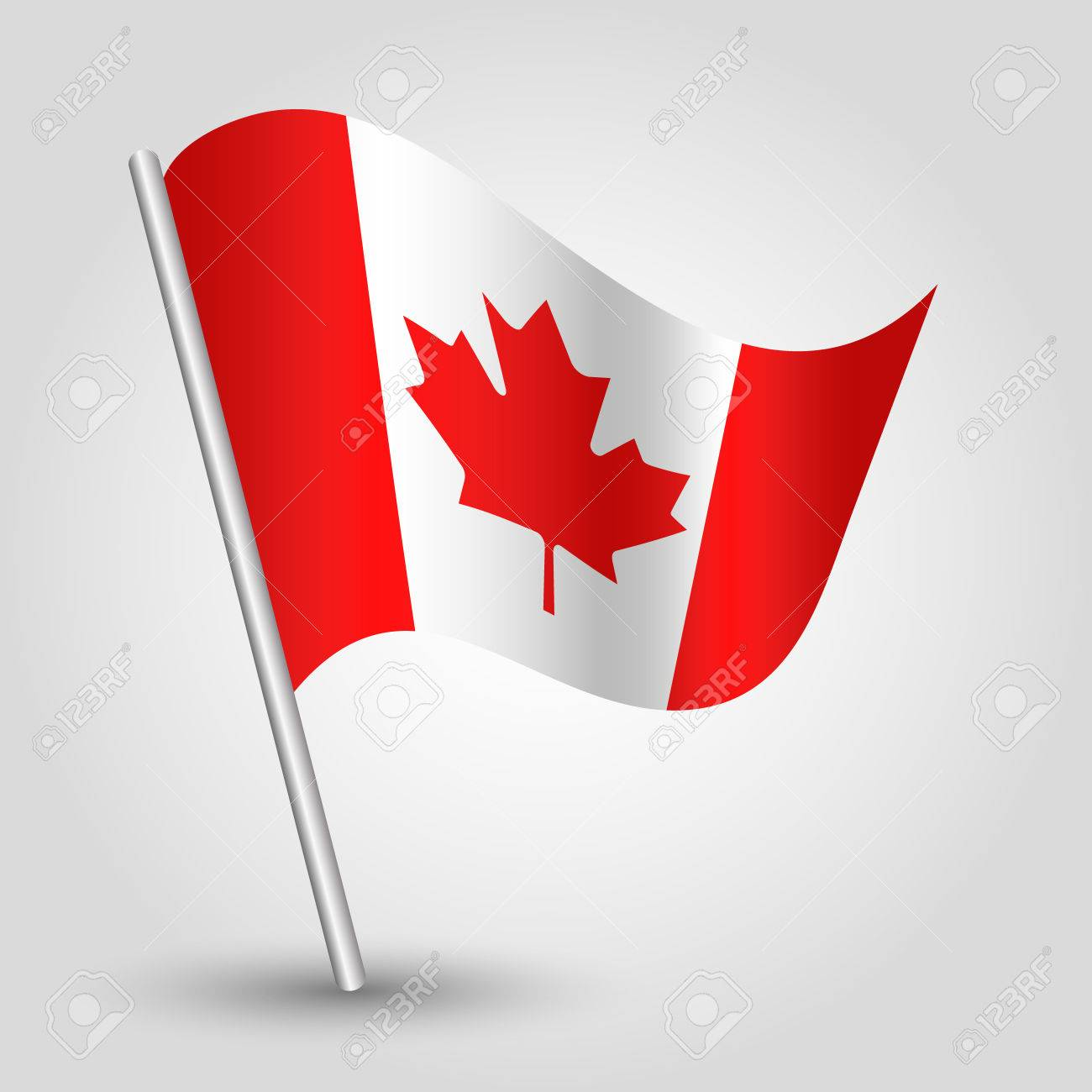 Vector 3d Waving Canadian Flag On Pole National Symbol Of Canada