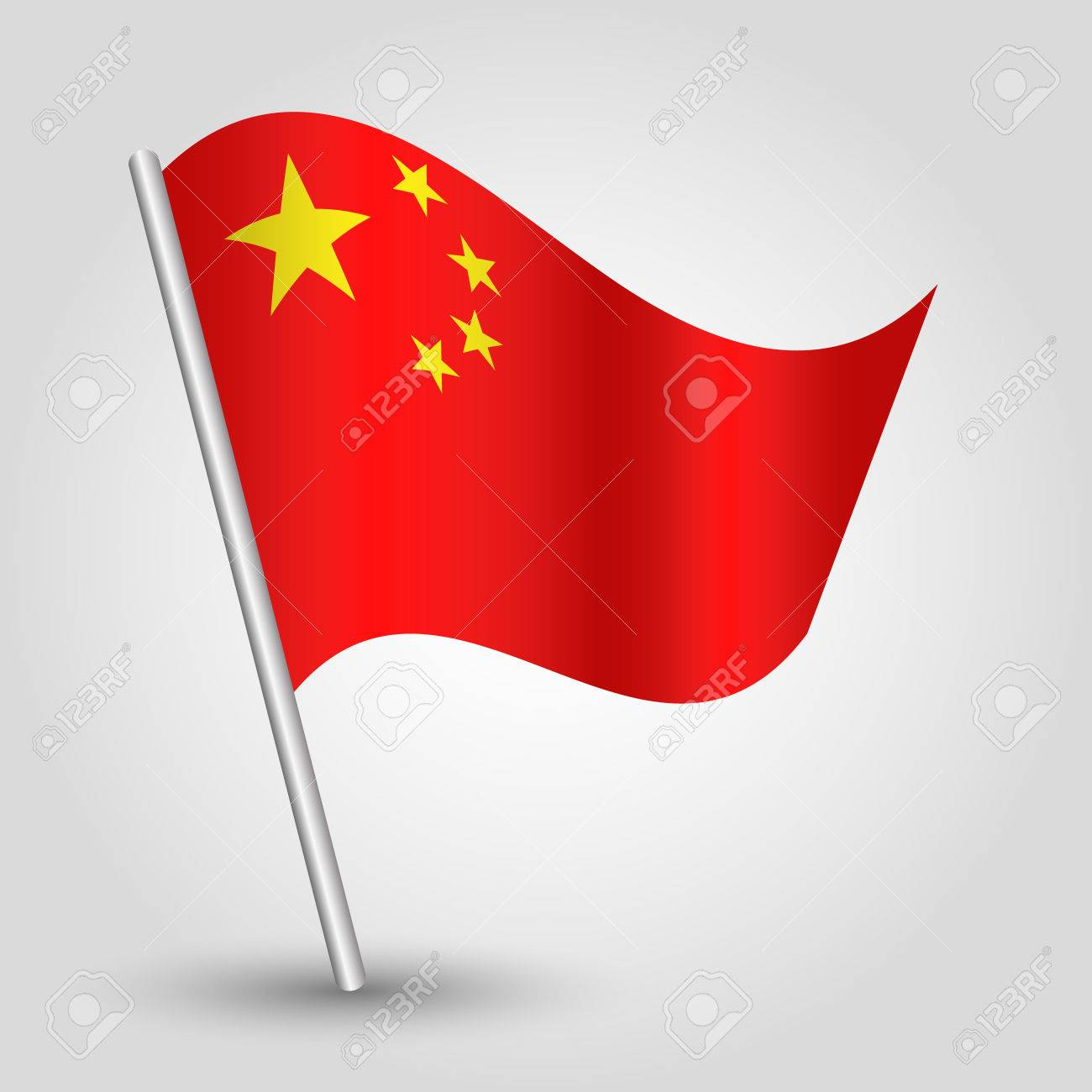 Vector 3d Waving Chinese Flag On Pole National Symbol Of China