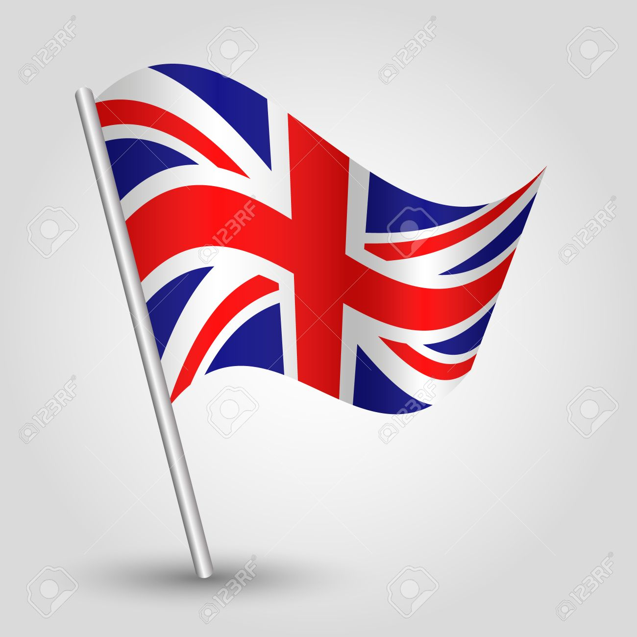 5a09b7a40b23 Vector - vector 3d waving english flag on pole - national symbol of United  Kingdom UK - England and Ireland with inclined metal stick